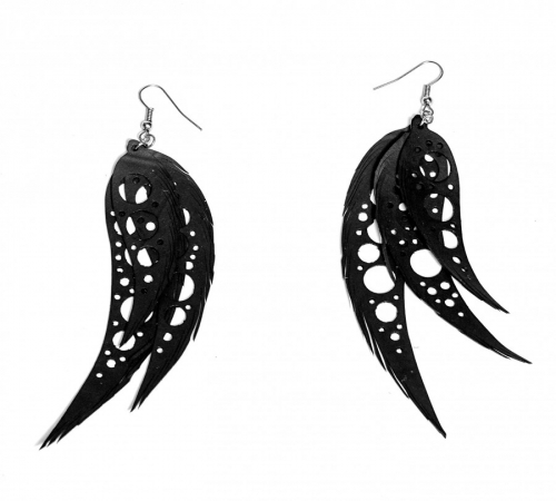 Earring Triple Feather Dots